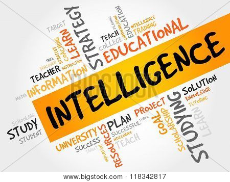 Intelligence word cloud education concept, presentation background