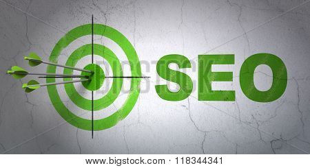 Web development concept: target and SEO on wall background