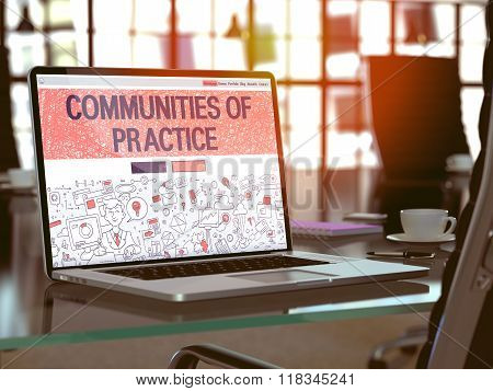 Laptop Screen with Communities Of Practice Concept.
