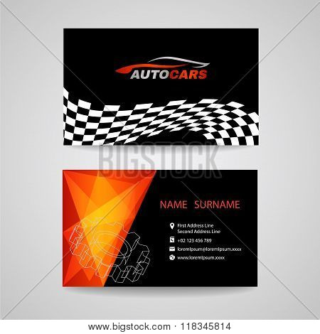 Business Card Vector Design For Transportation Car Racing Sport And Car Wash Or Auto Car Or Engineer