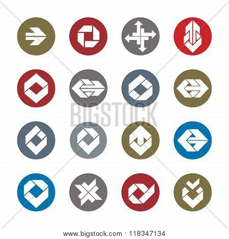 Abstract Unusual Vector Symbols Set, Creative Stylish Icon Templates Collection.