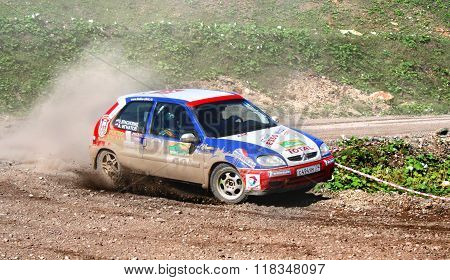 BAKAL, RUSSIA - AUGUST 8: Alexey Ignatov's Citroen Saxo (No. 22) competes at the annual Rally Southern Ural on August 8, 2008 in Bakal, Satka district, Chelyabinsk region, Russia.