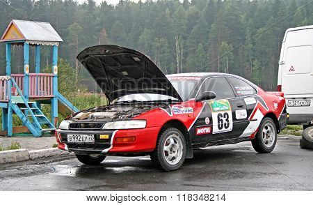 BAKAL, RUSSIA - AUGUST 8: Konstantin Rozhkov's Toyota Corolla Levin (No. 63) competes at the annual Rally Southern Ural on August 8, 2008 in Bakal, Satka district, Chelyabinsk region, Russia.