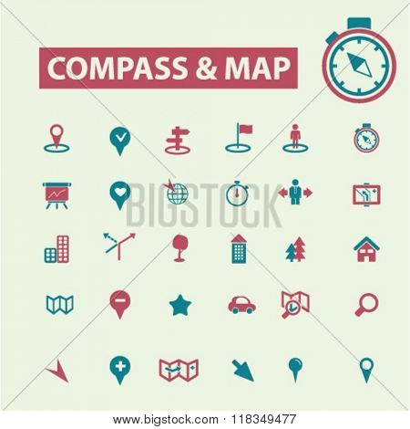 compass icons, compass logo, compass map, map icons, compass isolated