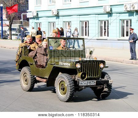 CHELYABINSK, RUSSIA - MAY 9: Command car Willys MB is exhibited at the annual Victory Parade on May 9, 2009 in Chelyabinsk, Russia.