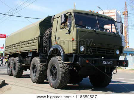 CHELYABINSK, RUSSIA - MAY 9: Army truck KamAZ-6350 Mustang exhibited at the annual Victory Parade on May 9, 2009 in Chelyabinsk, Russia.