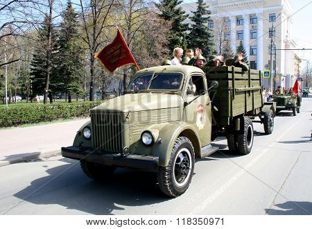 CHELYABINSK, RUSSIA - MAY 9: Soviet truck GAZ-51 exhibited at the annual Victory Parade on May 9, 2009 in Chelyabinsk, Russia.