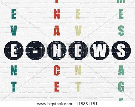 News concept: E-news in Crossword Puzzle