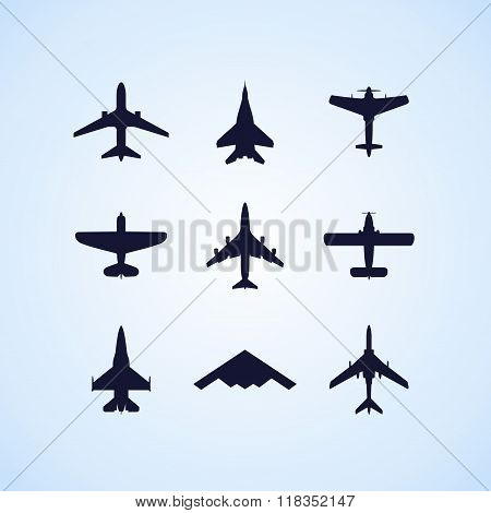 Airplane icons set: passenger plane, fighter plane and screw on blue background. Vector Illustration