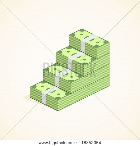 Money steps, Ascent to wealth, Pile of Cash ladder in flat style. Success Vector Illustration
