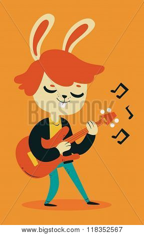 Cute Bunny Playing Guitar
