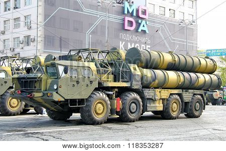 YEKATERINBURG, RUSSIA - MAY 9: Mobile surface-to-air missile system S-300 exhibited at the annual Victory day Parade on May 9, 2012 in Yekaterinburg, Russia.