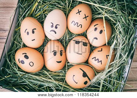 Emotion Painted Eggs In The Box With Hay