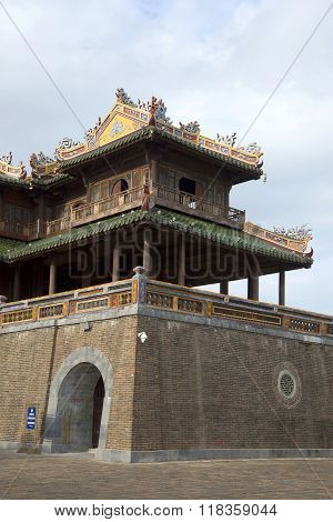 The right wing of the gate of the Forbidden city. Hue
