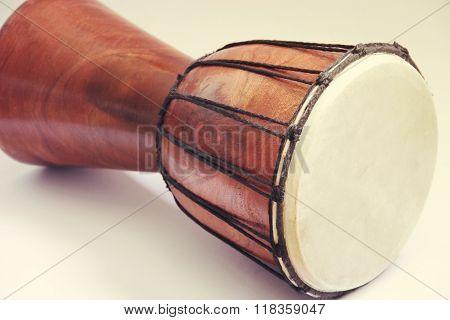 Darbuka drum musical instrument on white