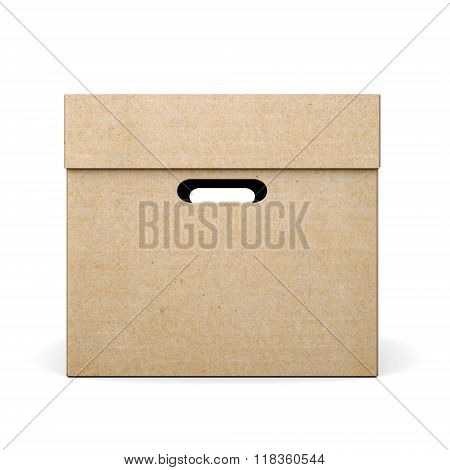 Cardboard Box With Lid On White Background. 3D Rendering