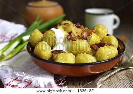 Potato Dumplings - Traditional Dish Of Belorussian And Polish Cuisine.