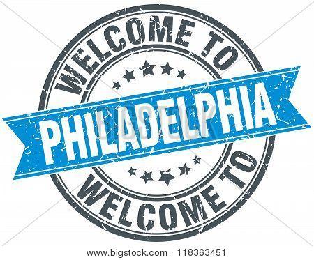 welcome to Philadelphia blue round vintage stamp