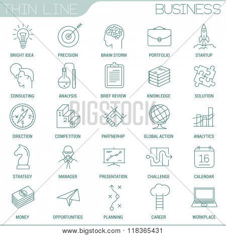 Thin line business strategy vector interface design icon set