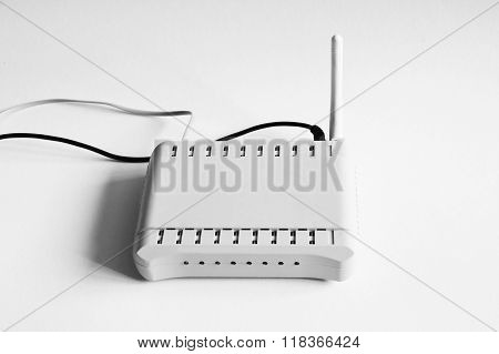 White wifi router for internet connection isolated on white