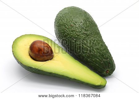 Avocados On White Background