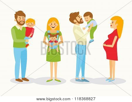 Vector illustration of a family.