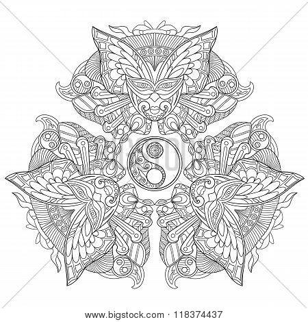Zentangle Stylized Yin Yang Symbol. Set Of Three Balanced Carnaval Masks.