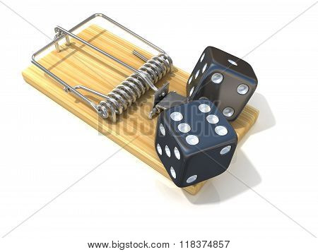 Two black game dices like bait in wooden mousetrap. 3D