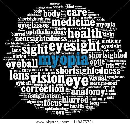Myopia in word collage