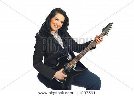Cheerful Guitarist Woman In Formal Wear