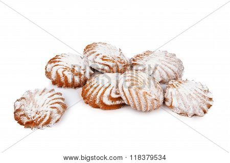 Cookies With Powdered Sugar Isolated On White Background