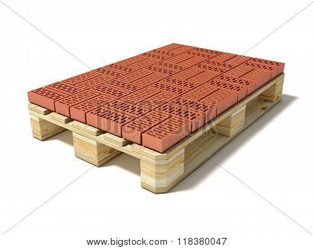 Euro pallet with one row of ceramic bricks. 3D
