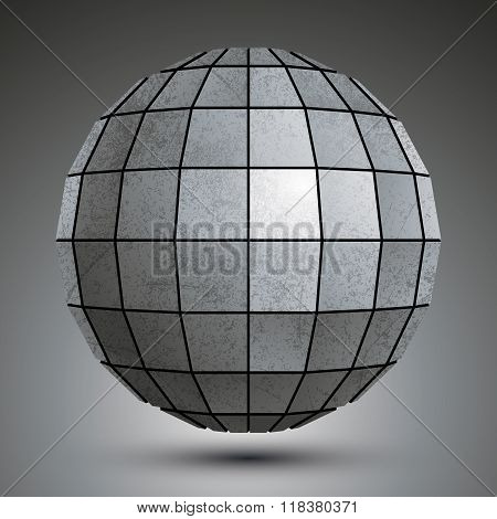 Futuristic Galvanized 3D Globe Created With Squares, Grunge Abstract Object.