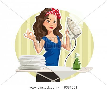 Beautiful girl press linen. Vector illustration. Isolated on white background. Transparent objects used for lights and shadows drawing