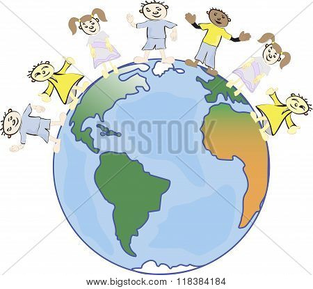 multicultural children on planet earth, cultural diversity, traditional folk costumes. Earth is my f