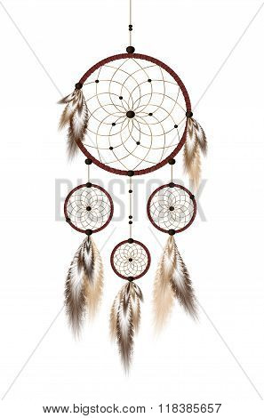 Dreamcatcher with beads and feathers in beige and brown isolated on white background