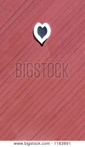White Window Heart On Red Slanted Wood