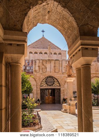 The city of Bethlehem. The Church of the Nativity of Jesus Christ. Hieronymus.