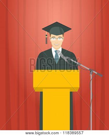 Graduation Ceremony Speech By A Man Graduate At The Podium