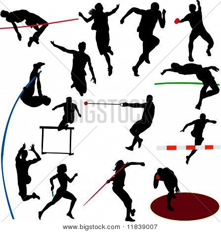 athletic men and women silhouettes collection - vector illustration poster