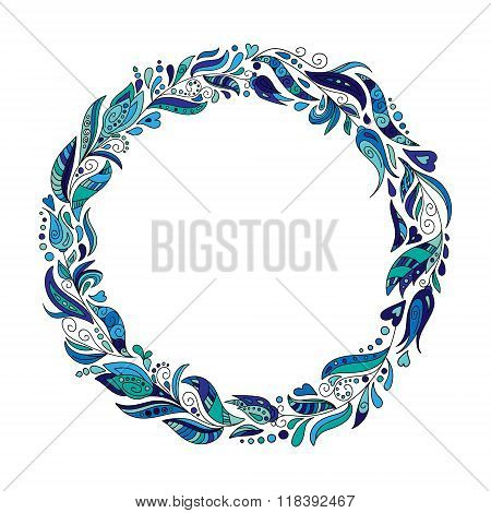 Hand drawn doodle wreath with blue flowers and leaves. Round frame for invitation cards on you design. Vector layout with copyspace
