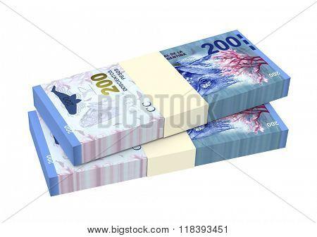 Argentina pesos isolated on white background. Computer generated 3D photo rendering.