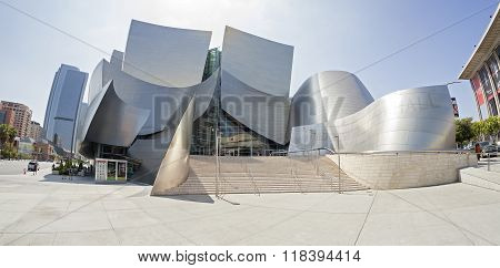 Fisheye lens photo of Walt Disney Concert Hall.