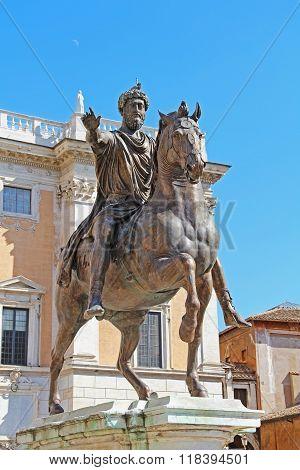 Marcus Aurelius Bronze Equestrian Statue, Capitoline Hill, Rome, Italy