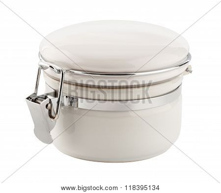 White Ceramic Canister With Metal Clamp