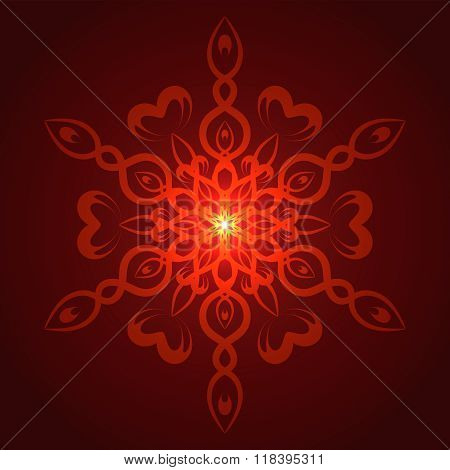 Vector geometric red glow mandala