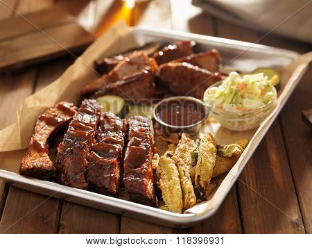 barbecue ribs with brisket, fried okra and slaw