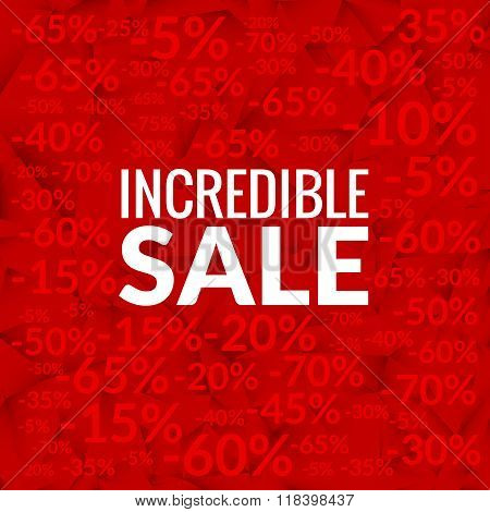 Big incredible sale background with percents pattern on red
