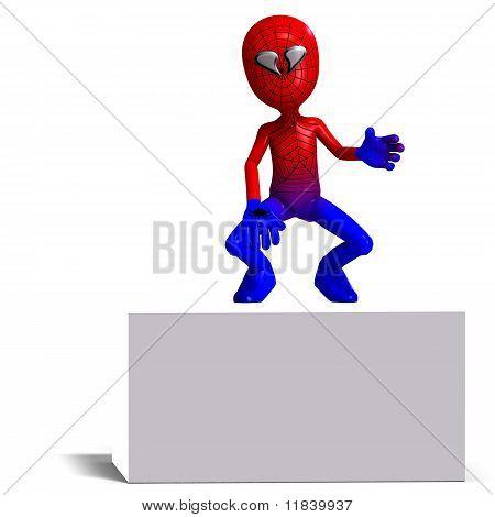 funny cartoon hero that crawls like a spider