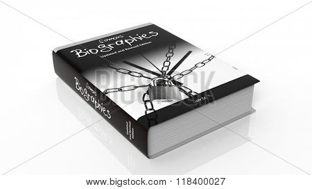 Hardcover book on Famous Biographies with illustration on cover, isolated on white background.